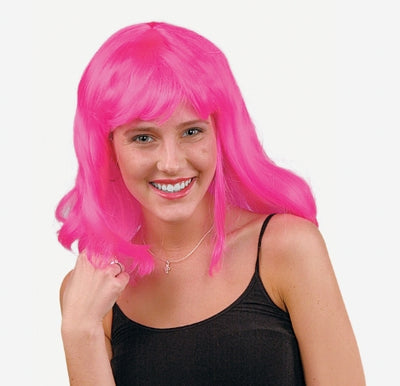 Adult's Neon Pink Pageboy Wig - Wholesale Vending Products