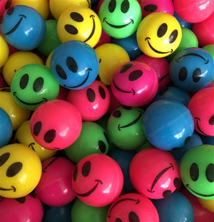144 25mm Neon Smile Face Bouncy Balls - Wholesale Vending Products