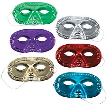 24 Plastic Metallic Half Masks - Wholesale Vending Products