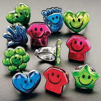 144 Plastic Metallic Smile Face Rings - Wholesale Vending Products