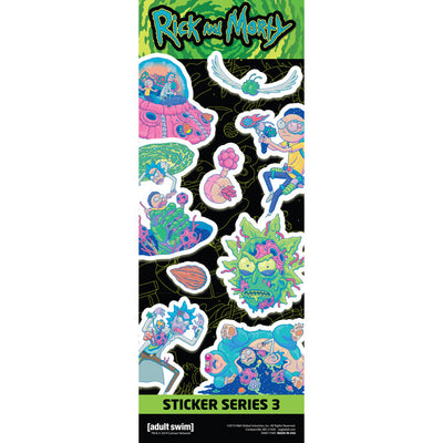 Rick and Morty Series 3 Stickers in Folders (300 pcs) - Display Included - Wholesale Vending Products