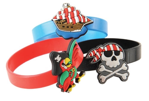 12 Rubber Pirate Charm Bracelets - Wholesale Vending Products