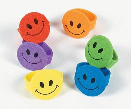 144 Smile Face Foam Rings - Wholesale Vending Products