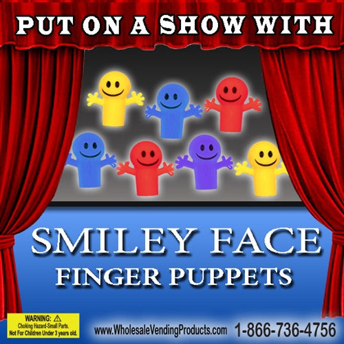 "250 Smile Face Finger Puppets - 2"" - Wholesale Vending Products"