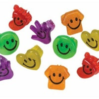 144 Smile Smiley Face Glitter Rings - Wholesale Vending Products