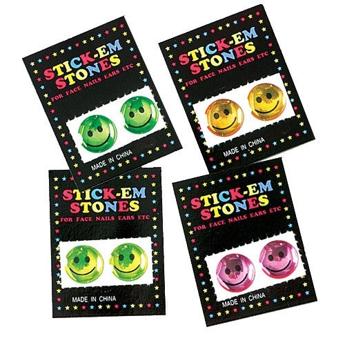 144 Smile Face Stick On Gems - Wholesale Vending Products