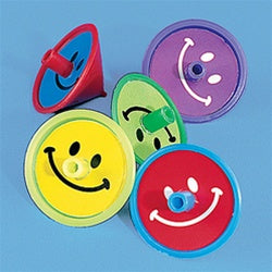 144 Smile Face Spin tops - Wholesale Vending Products