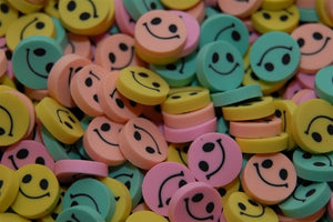 "144 Bulk .75"" Happy Face Erasers - Wholesale Vending Products"