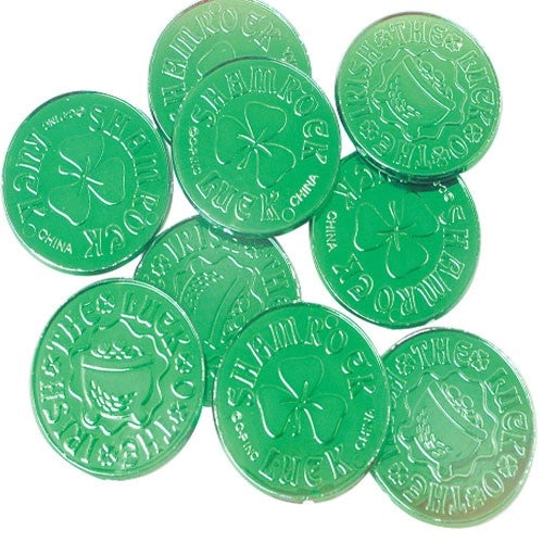 144 St. Patricks Day Green Coins - Wholesale Vending Products