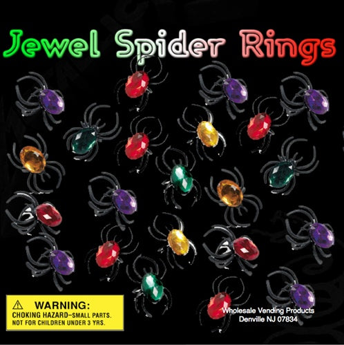 "250 Jewel Spider Rings In 2"" Capsules - Wholesale Vending Products"