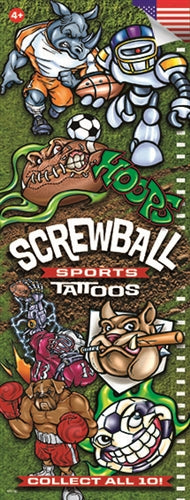 300 Screwball Sports Temporary Tattoos In Folders - FREE DISPLAY!