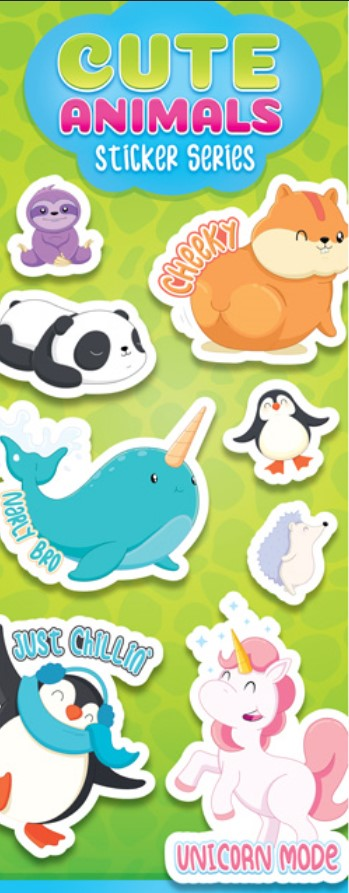 Cute Animal Stickers in Folders (300 pcs) - Display Included - Wholesale Vending Products