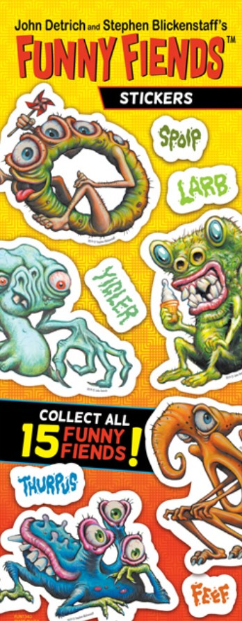 Funny Fiends Stickers in Folders (300 pcs) - Display Included - Wholesale Vending Products