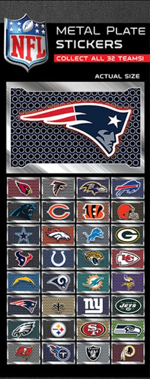 NFL License Plate Team Stickers in Folders (300 pcs) - Display Included