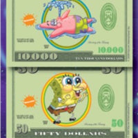 SpongeBob Money Stickers in Folders (300 pcs) - Display Included - Wholesale Vending Products