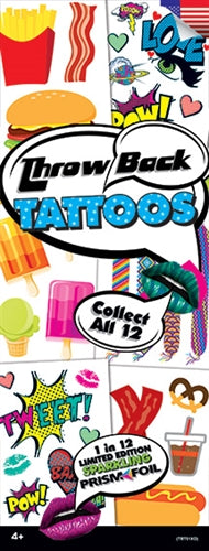 300 Throwback Temporary Tattoos In Folders - FREE DISPLAY!