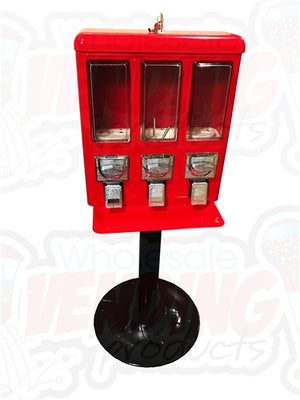 Metal Triple Section Bulk Vending Machine Candy/Gumball Dispenser