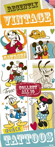 300 Vintage Mickey Mouse Temporary Tattoos In Folders - FREE DISPLAY! - Wholesale Vending Products
