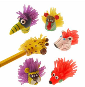 12 Soft Wild Animal Pencil Toppers - Wholesale Vending Products