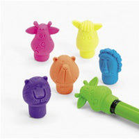 144 Neon Zoo Animal Pencil Top Erasers - Wholesale Vending Products
