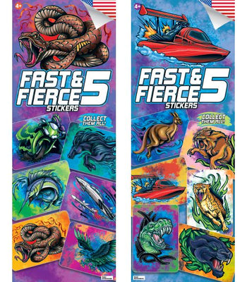 300 Fast and Fierce Boys 5 Stickers In Folders - Display Included - Wholesale Vending Products
