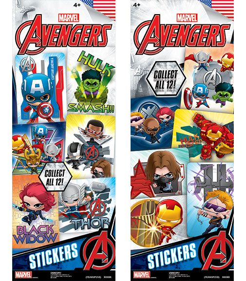 300 Marvel Avengers TeamUp 2 Stickers In Folders - FREE DISPLAY!