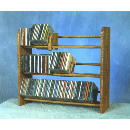 Small CD rack Model 301 CD Storage Rack from Hill Wood Shed, available in honey oak, dark finish, clear finish, and unfinished wood