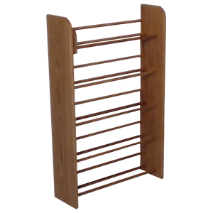 Angle view of wooden CD storage Model 501 CD Storage Rack from Hill Wood Shed