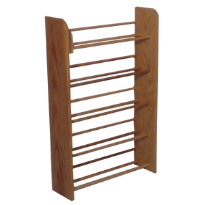 Wooden CD rack Side view, Model 501 CD Storage Rack from Hill Wood Shed, available in unfinished, clear finish, dark finish, honey finish