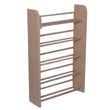Load image into Gallery viewer, Model 501 CD Storage Rack from Hill Wood Shed, angle view, unfinished, dowel rack stores 275 CDs