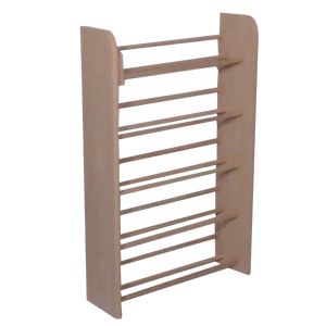 Model 501 CD Storage Rack from Hill Wood Shed, angle view, unfinished, dowel rack stores 275 CDs