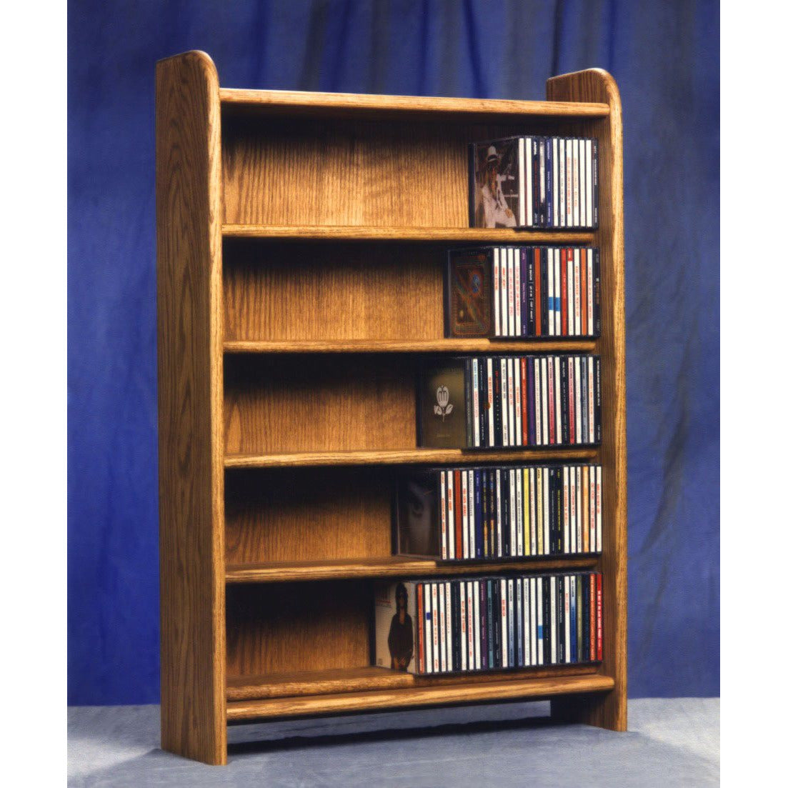 CD storage cabinet - honey oak finishs or 360 audio tapes in an attractive, solid wood media rack