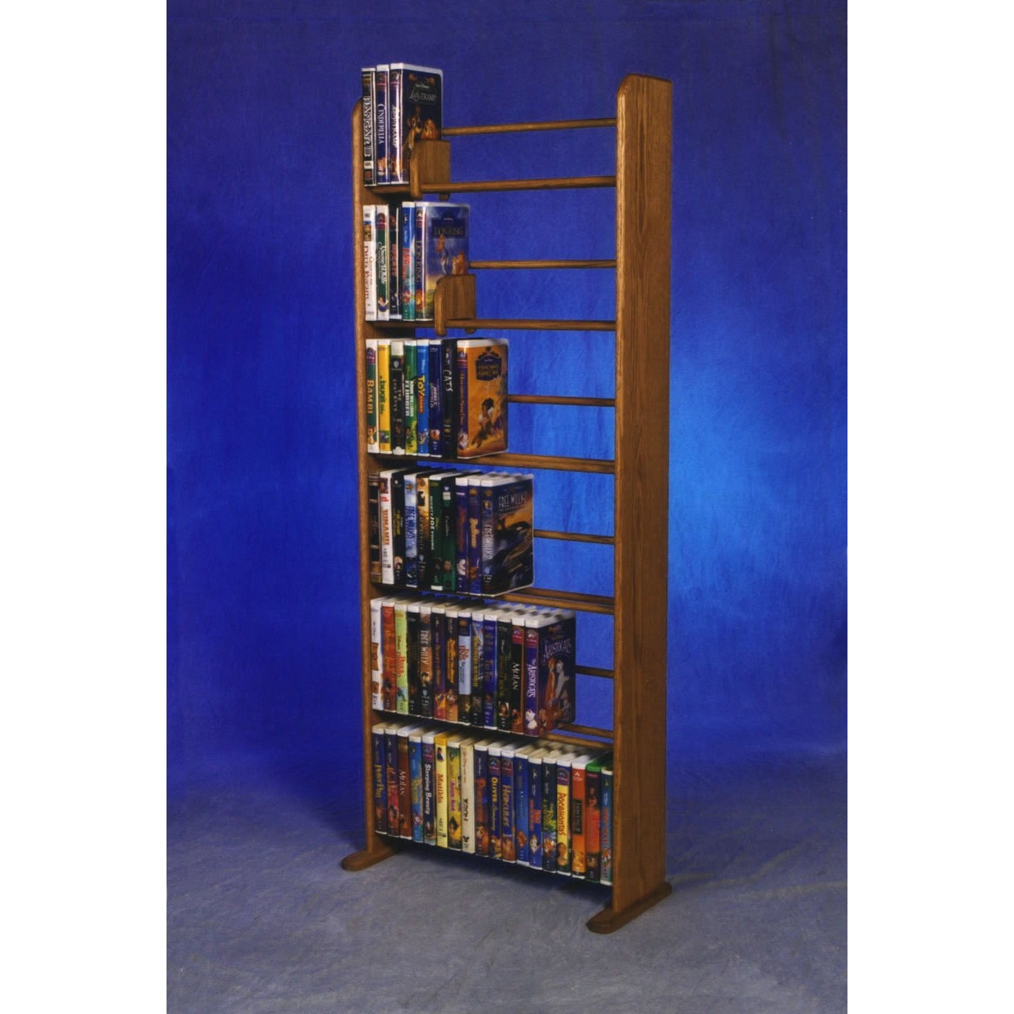 Model 605 DVD storage rack - honey oak