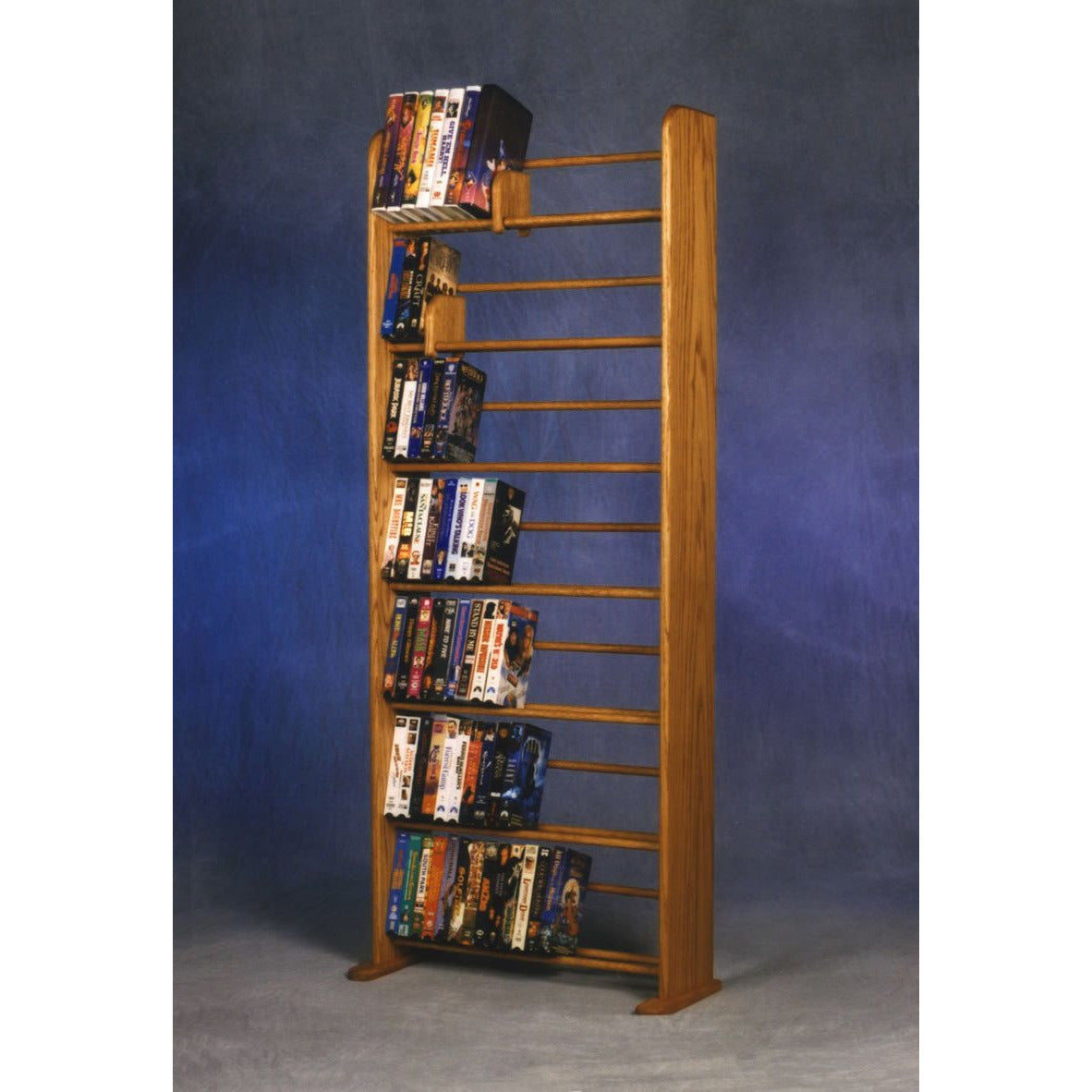 DVD storage rack - honey oak - holds 280 DVDs