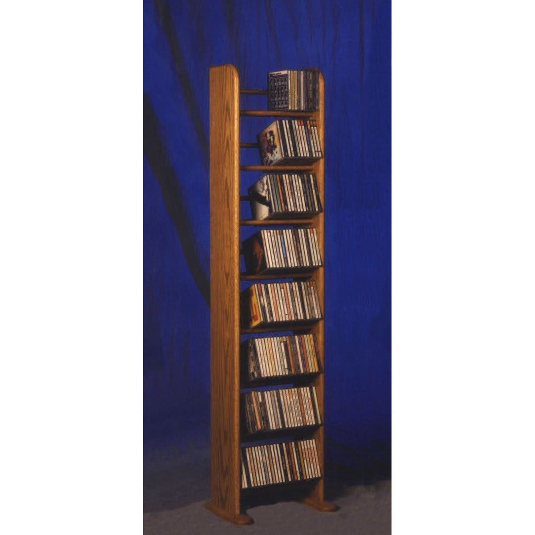 "CD Storage Tower from Hill Wood Shed | Model 804 CD Storage Rack holds 208 CDs in 12.25"" wide solid oak media rack"