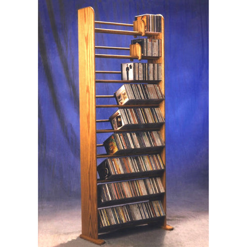 CD storage for large collections, Model 901 CD Storage Rack from Hill Wood Shed, available in honey oak, dark finish, clear finish, and unfinished