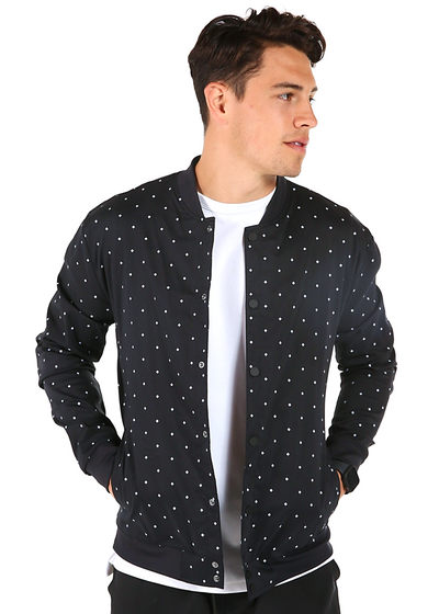 Black Print Bomber Jacket
