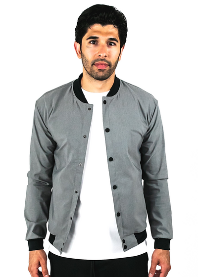 "<h1 style=""text-align: center;""><strong>Stone</strong></h1> <p style=""text-align: center;""><span style=""color: #999999;"">grey bomber jacket</span></p>"