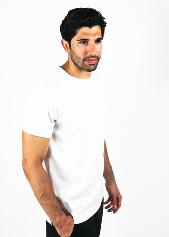 Heavyweight white tee - side facing model