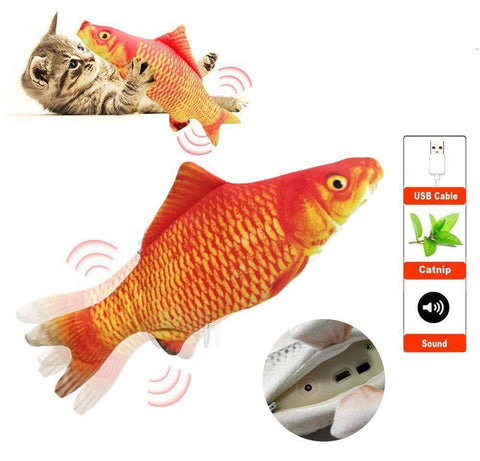 Realistic Plush Electric Moving Fish Toy For Cat - pethomeus