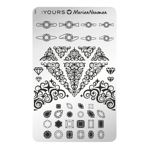 :YOURS LOVES MARIAN NEWMAN Diamonds are Forever Stamping Plate