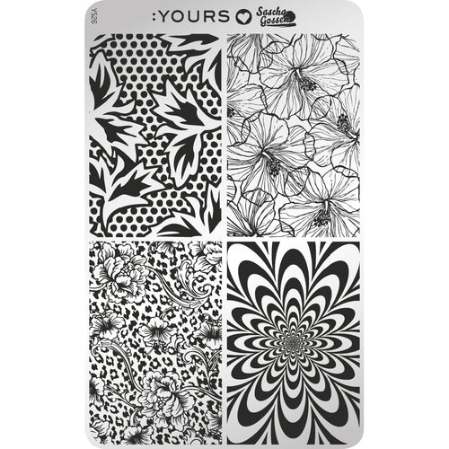 :YOURS LOVES SASCHA Blooming Four Stamping Plate