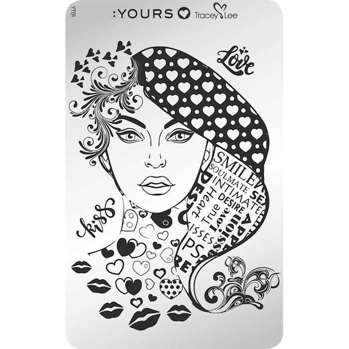 :YOURS LOVES TRACEY Face Facts Stamping Plate