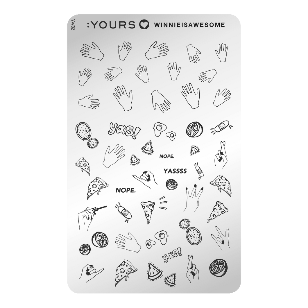 :YOURS LOVES WINNIE IS AWESOME Random Route Stamping Plate