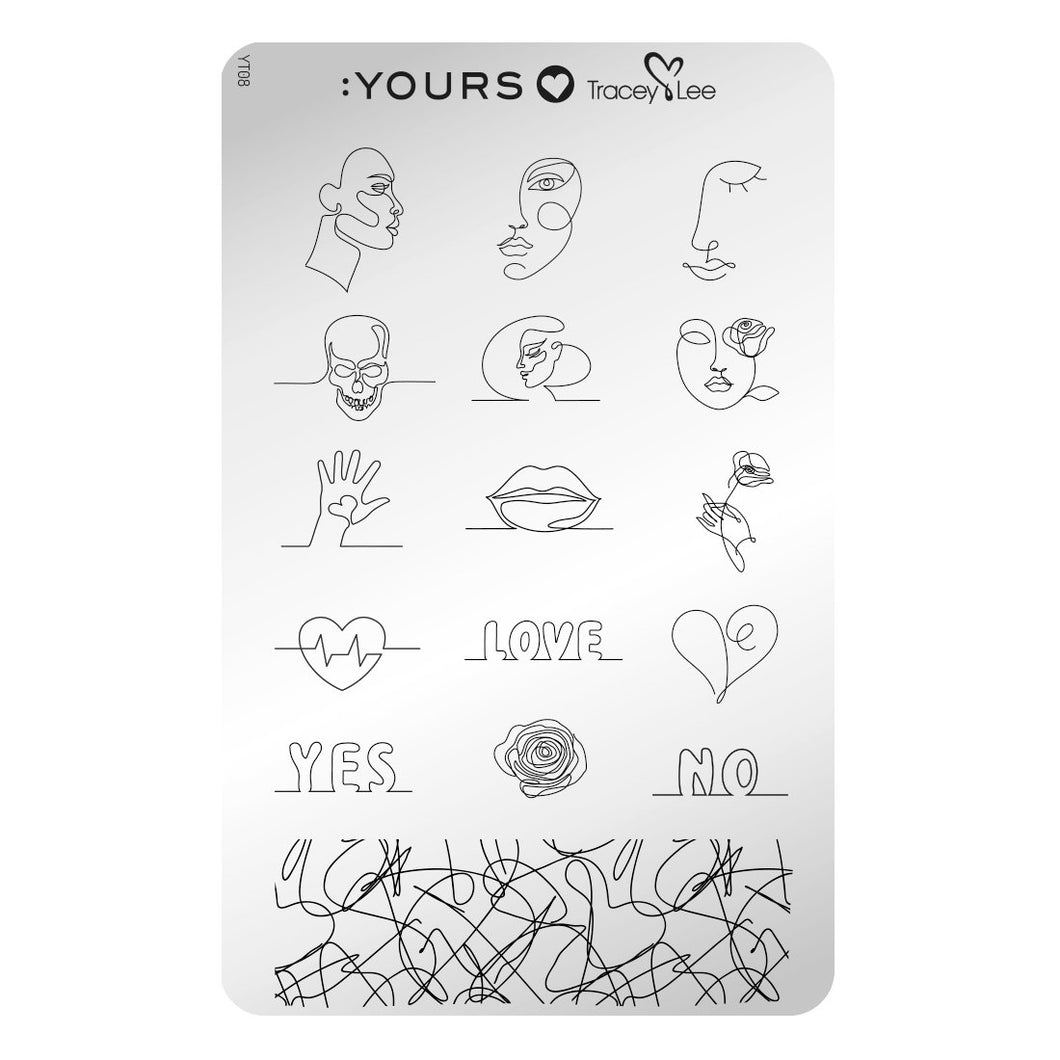 :YOURS LOVES TRACEY Drawing The Line Stamping Plate
