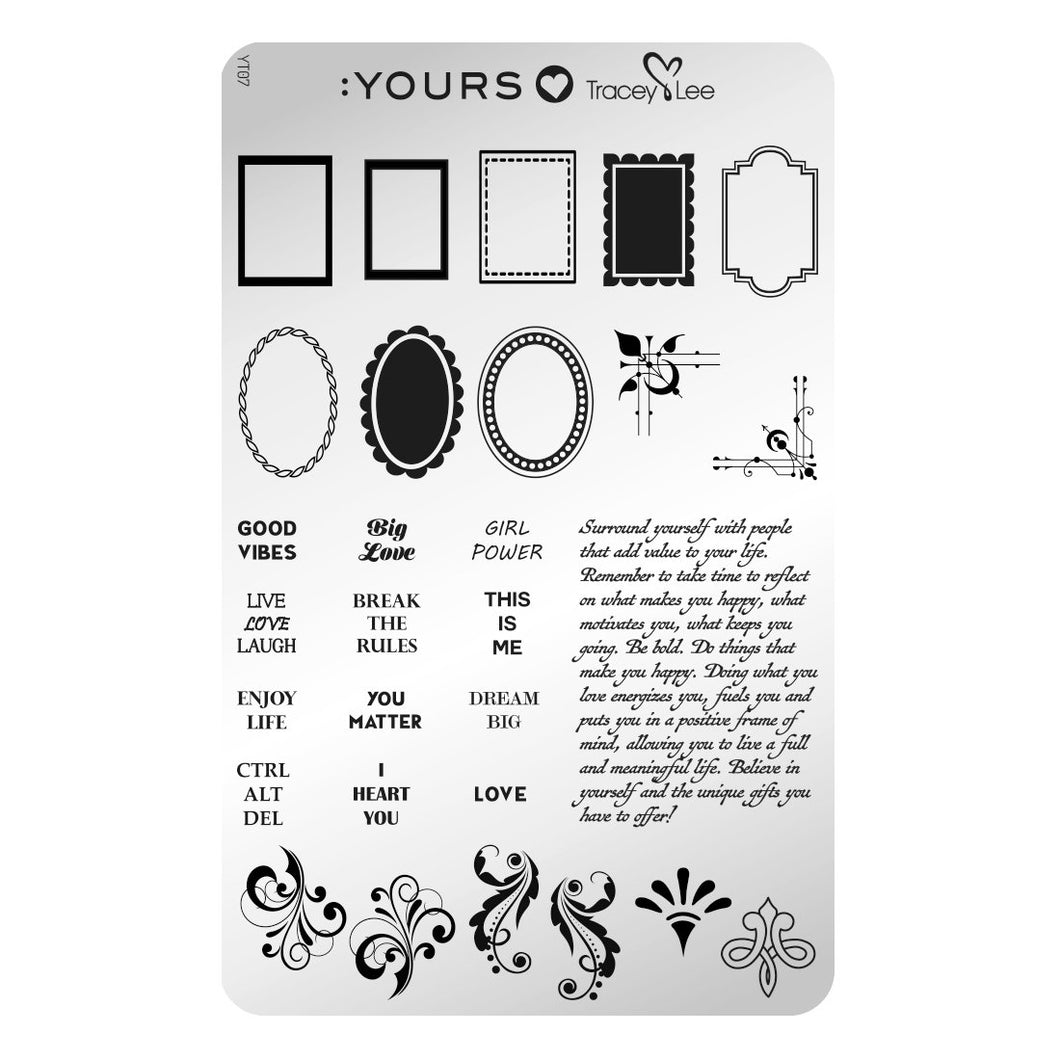 :YOURS LOVES TRACEY Frame Your Mind Stamping Plate