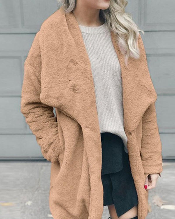 Faux Fur Turn-Down Collar Coat