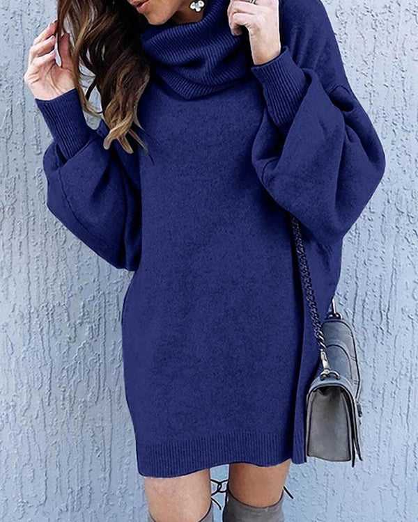 Solid Long Sleeve Casual Dress