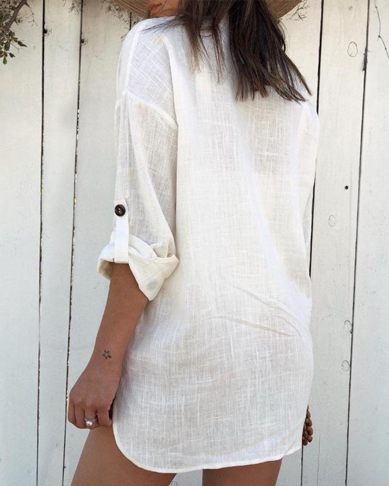 2019 summer new casual wind cotton shirt long shirt long shirt dress