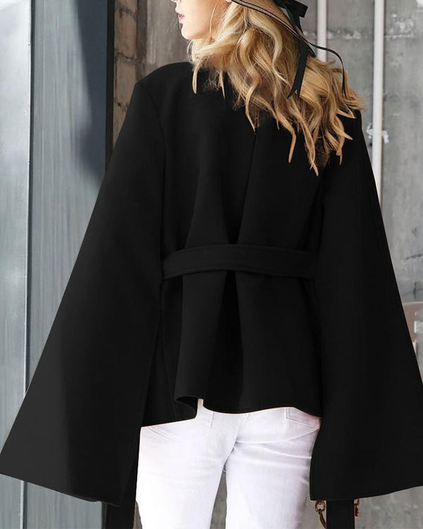 Solid Cape Design V Neck Wool Coat